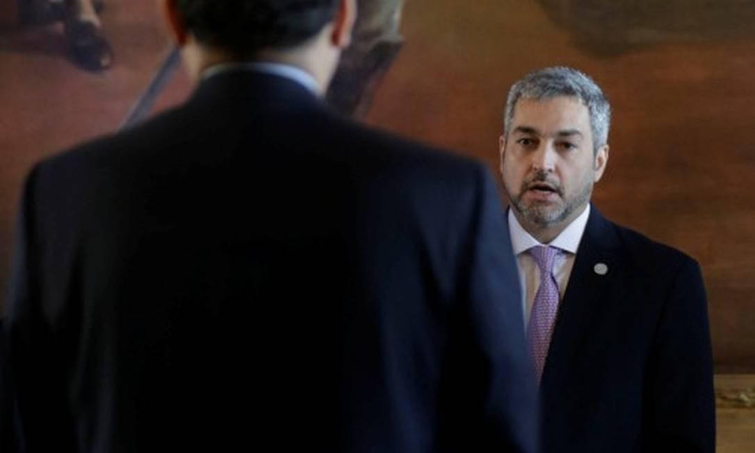 Presidente do Paraguai, Mario Abdo Benítez, na cerimônia de posse do novo chanceler Antonio Rivas Foto: JORGE ADORNO / REUTERS/31-07-2019