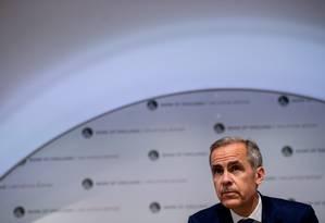 Mark Carney, diretor do Banco Central do Reino Unido, em entrevista de lançamento de relatório trimestral Foto: POOL / REUTERS