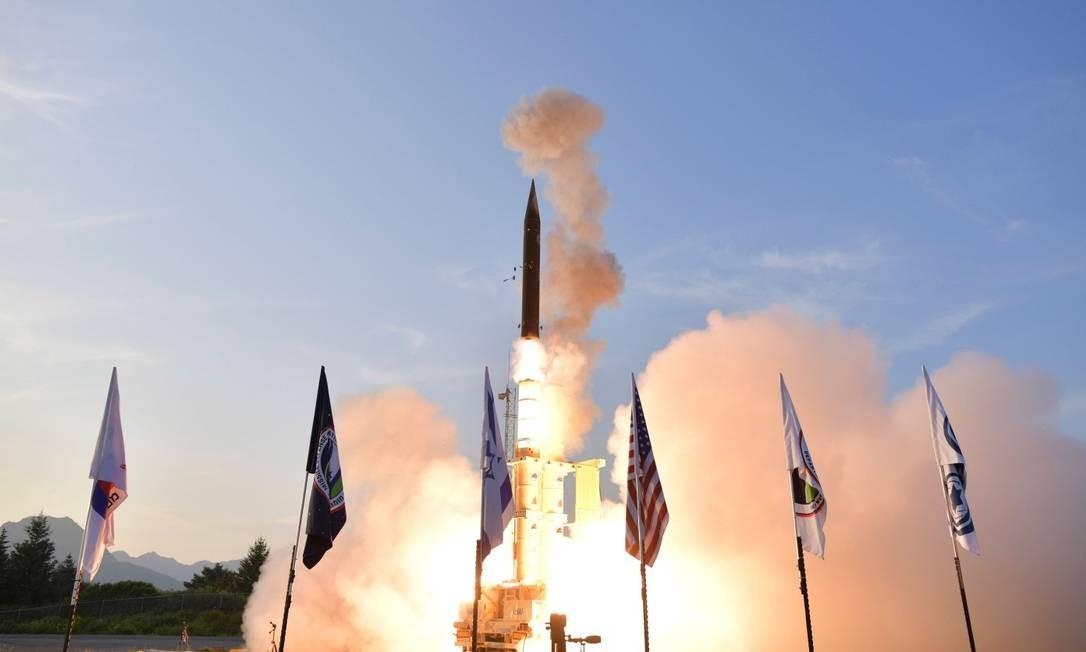 Estados Unidos e Israel realizaram um lançamento de míssil em conjunto no final de julho Foto: Handout / AFP/28-07-2019