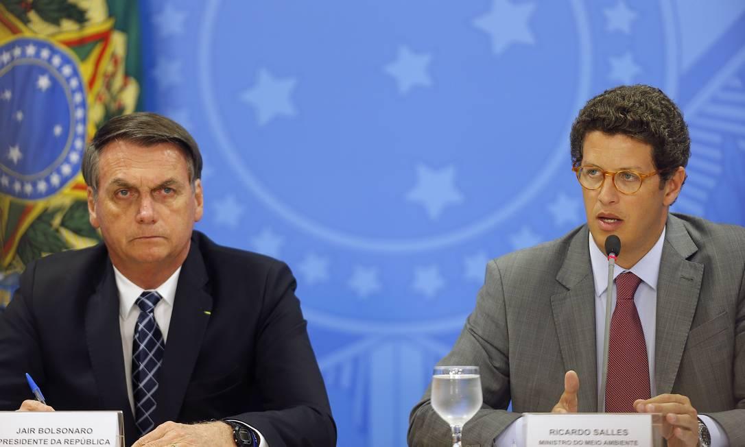 O presidente Jair Bolsonaro e o ministro do Meio Ambiente, Ricardo Salles Foto: Jorge William / Agência O Globo