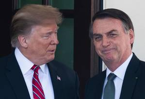 O presidente dos EUA, Donald Trump, recebe o presidente do Brasil, Jair Bolsonaro, na Casa Branca durante visita oficial em março Foto: JIM WATSON/AFP/19-03-2019