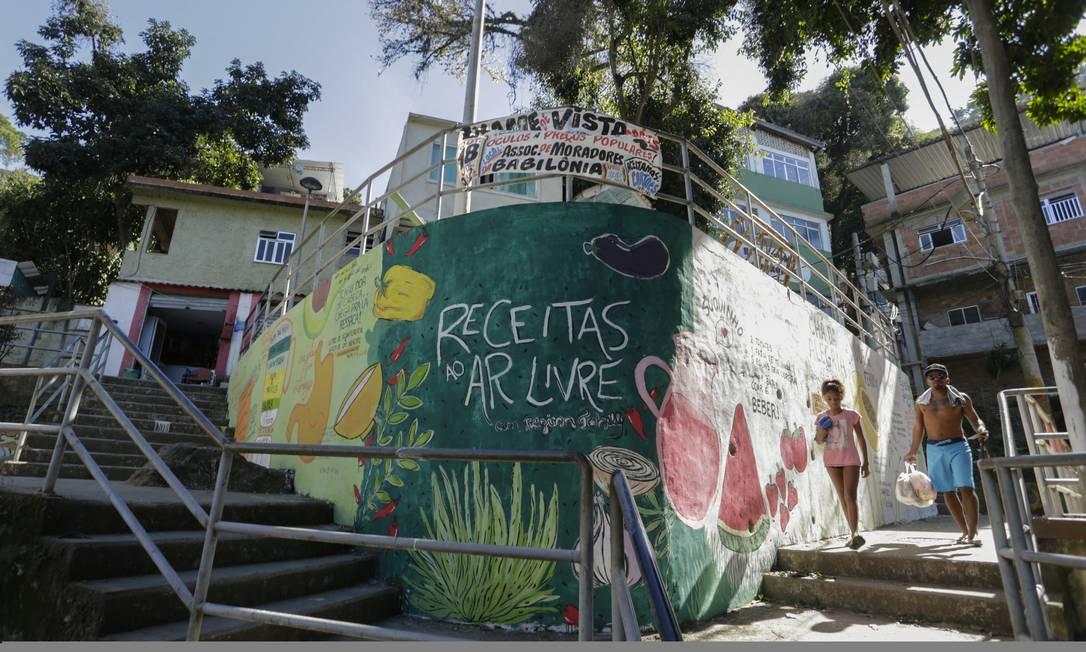 RI Rio de Janeiro 23/07/2019 - Muro pintado em frente à Associação de Moradores da Babilônia exibe receitas naturais de alimentação . A iniciativa é da ONG Favela Orgânica, de Regina Tchelly. Foto de Gabriel de Paiva/ Agência O Globo Foto: Gabriel de Paiva / Agência O Globo