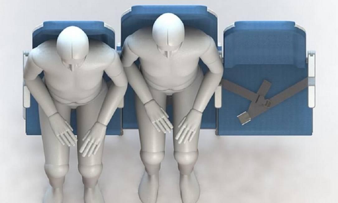 Esquema mostra como os passageiros poderão dividir o mesmo apoio para braço no modelo de poltronas da Molon Labe Seating Foto: Reprodução