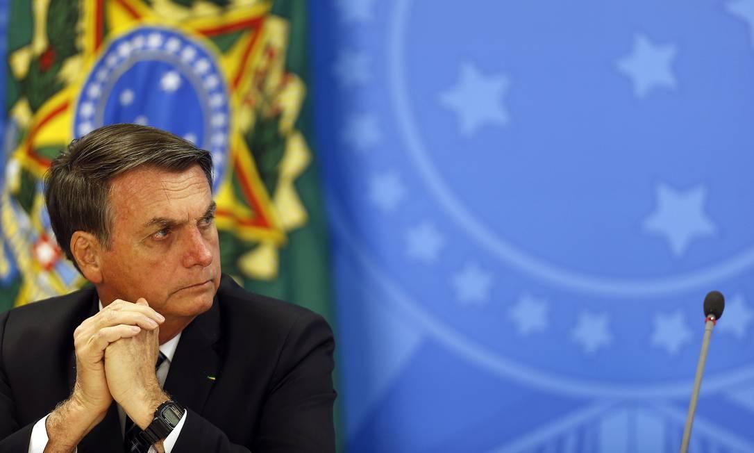 Presidente Jair Bolsonaro concede entrevista coletiva sobre os dados do desmatamento na Amazônia Foto: Jorge William 01/08/2019 / Agência O Globo