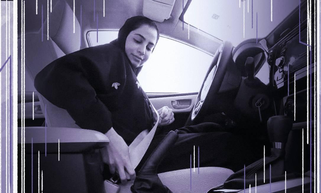 Mulher saudita dirige automóvel, em imagem veiculada pelo Ministério da Informação da Arábia Saudita Foto: Arte de Clara Brandao sobre foto AP