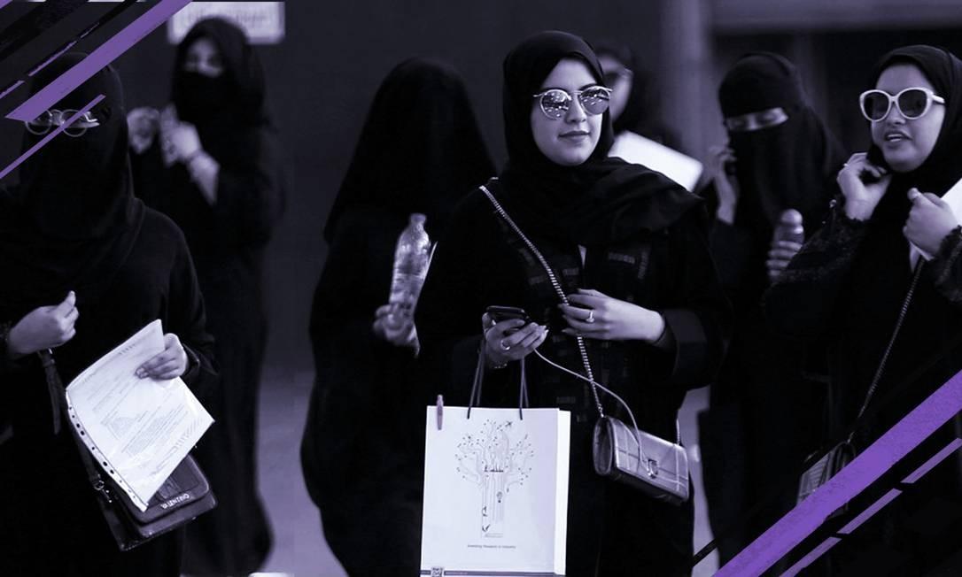 Mulheres sauditas participam de uma feira universitária em Riad Foto: Foto de Faisal Nasser com arte de Clara Brandão / Reuters