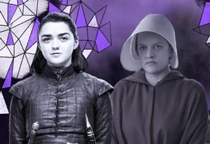 Arya Stark, de Game of Thrones; June, de Handmaid's Tale; e Claire Fraser, de Outlander Foto: Arte de Clara Brandão