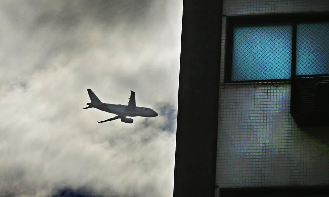 Em decolagem, avião que sai do Santos Dumont passa rente a prédio de Icaraí Foto: Antonio Scorza / Agência O Globo