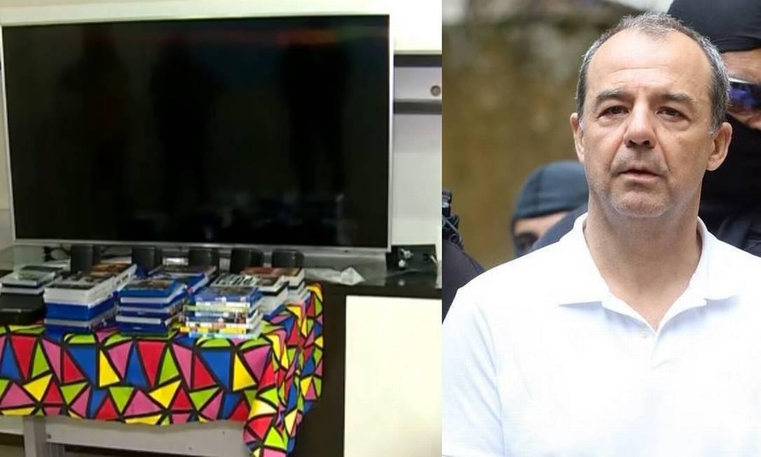 A videoteca de Sérgio Cabral, razão que o levou para a solitária por 30 dias Foto: Reprodução TV Globo / Theo Marques/ Agência O Globo