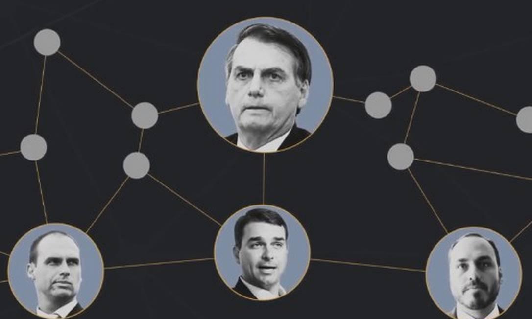 O presidente Jair Bolsonaro e os filhos Eduardo, Flávio e Carlos Foto: Agência O Globo