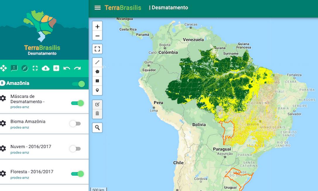 Tela da plataforma de dados geográficos Terra Brasilis, do Inpe Foto: Reprodução
