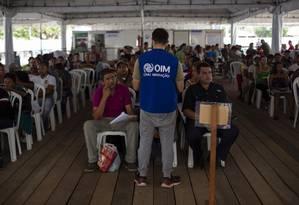Ponto de triagem de imigrantes venezuelanos em Boa Vista Foto: Daniel Marenco / Agência O Globo 26-7-19