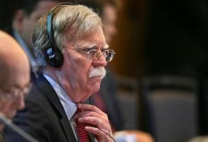 O conselheiro de segurança nacional dos EUA, John Bolton, durante discurso em cúpula do Grupo de Lima: escalada de sanções contra Maduro Foto: GUADALUPE PARDO / REUTERS