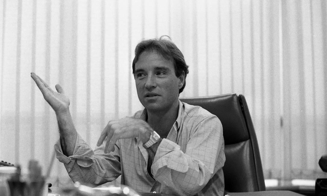 O empresário Eike Batista, em foto de 1989. Início do seu império se deu com a comercialização de ouro extraído da Amazônia nos anos 80. Segundo biografia, ganhou 6 milhões de dólares em apenas um ano e meio com sua primeira empresa, a Autran Aureum Foto: José Vasco / Agência O Globo