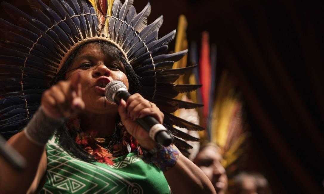 Indígena Sônia Guajajara, coordenadora executiva da Apib. Foto: Gabriel Monteiro / Agência O Globo/04-06-2019