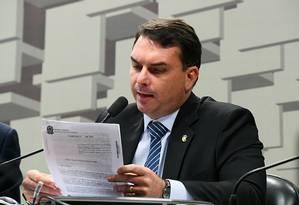 Senador Flávio Bolsonaro na reunião da Comissão de Assuntos Econômicos do Senado Foto: Marcos Oliveira/Agência Senado