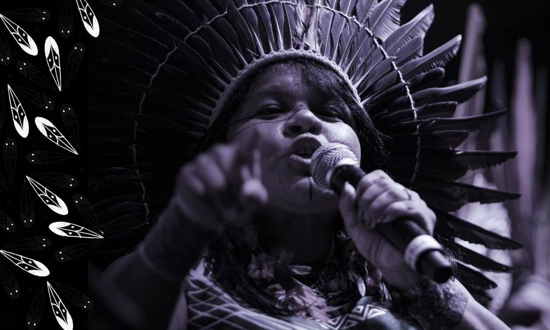 A indígena Sonia Guajajara, que já foi candidata à vice-presidência do país na chapa com Guilherme Boulos (Psol), será uma das participantes da marcha Foto: Arte sobre foto de Gabriel Monteiro/04-06-2019