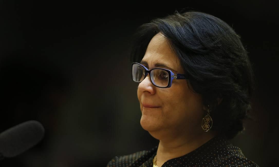 A ministra da Mulher, Família e Direitos Humanos, Damares Alves, em audiência na Câmara Foto: Jorge William / Agência O Globo
