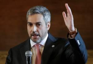 Presidente Mario Abdo Benítez, durante pronunciamento no palácio López Foto: JORGE ADORNO / REUTERS/01-08-2019