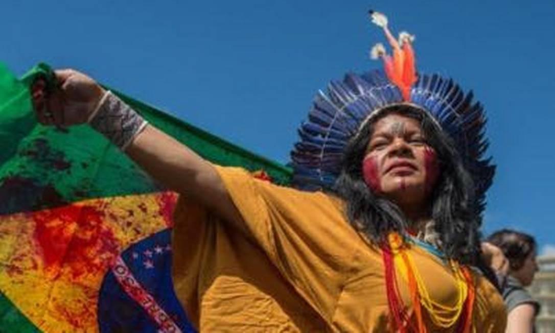 Sonia Guajajara durante uma manifestação Foto: Arquivo pessoal