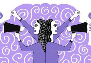 As feministas islâmicas buscam uma releitura da história de um patriarcado islâmico por meio de um pressuposto maior inscrito no Alcorão Foto: Arte de Nina Millen