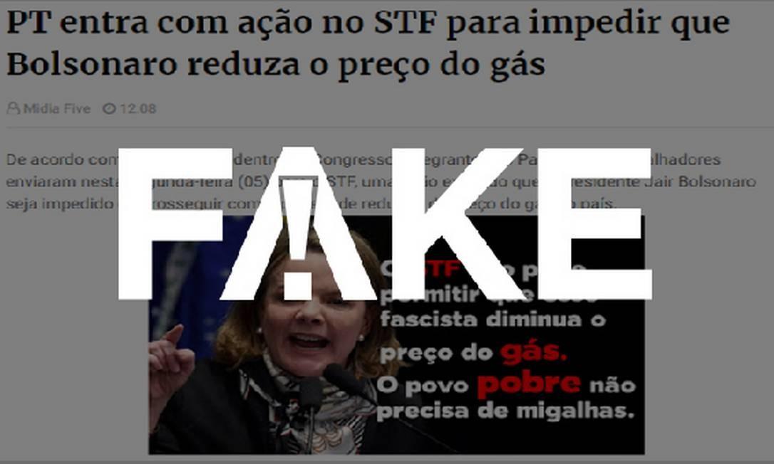 É #FAKE que PT entrou com ação no STF para impedir redução do preço do gás Foto: Reprodução
