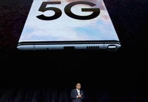 DJ Koh, presidente da Samsung, apresenta o Galaxy Note 10. Foto: Drew Angerer / AFP
