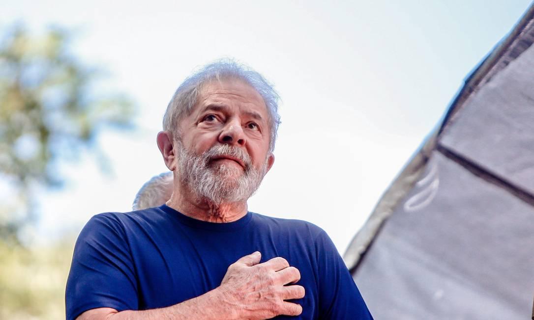 O ex-presidente Lula em São Bernardo do Campo (SP), antes de ter sido preso pela PF em abril de 2018 Foto: Cristiane Mattos / Agência O Globo
