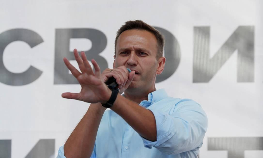 Alexei Navalny, participando de um protesto antigoverno antes de ser preso Foto: Shamil Zhumatov / REUTERS/20-07-2019