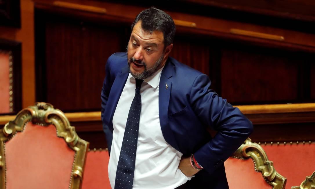 O vice-primeiro-ministro italiano Matteo Salvini, líder do partido de extrema direita Liga, gesticula em votação no Senado em Roma esta semana: em alta nas pesquisas, ele quer novas eleições Foto: Remo Casilli/REUTERS/05-08-2019