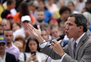 Guaidó fala a apoiadores durante ato em Caracas: oposição enfraquecida Foto: MANAURE QUINTERO / REUTERS
