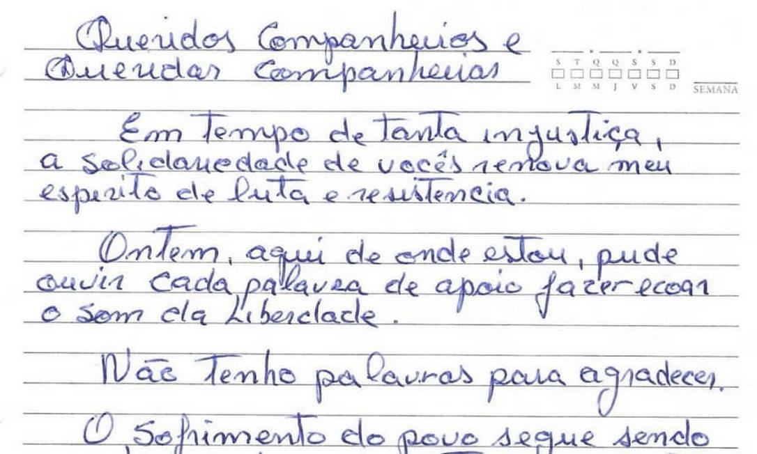 Carta de Lula aos colegas do PT Foto: ÉPOCA