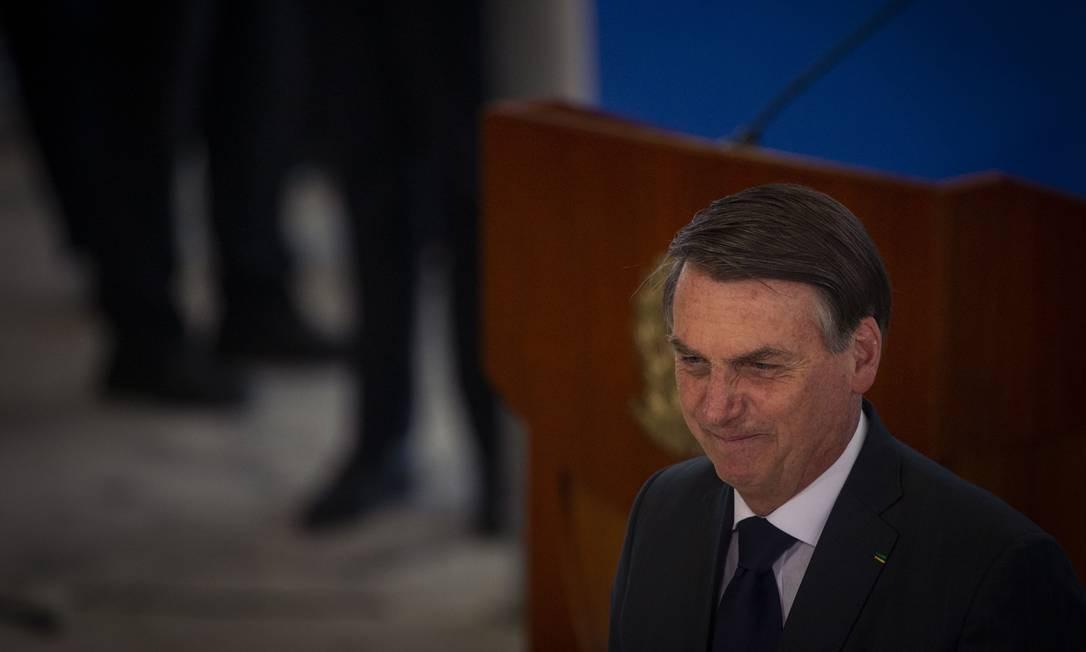 O presidente Jair Bolsonaro, durante cerimônia no Palácio do Planalto Foto: Daniel Marenco/Agência O Globo