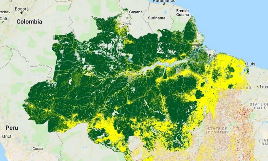 Mapa do desmatamento na Amazônia Legal do Prodes Foto: Reprodução/TerraBrasilis