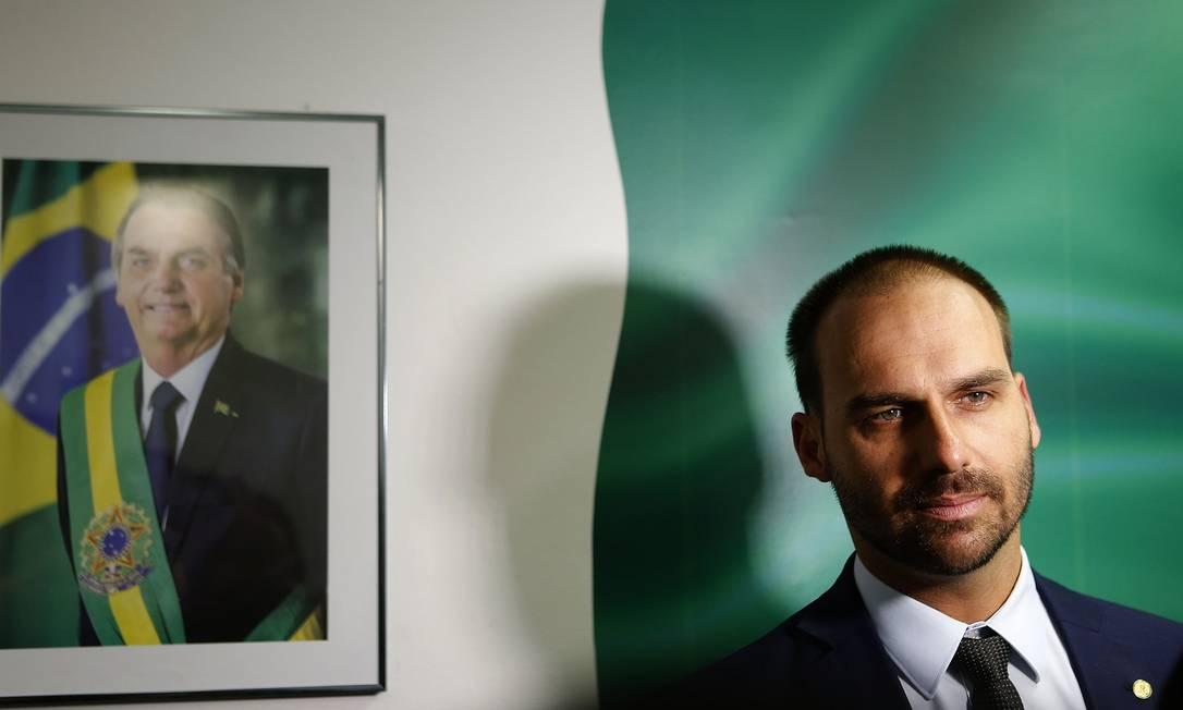 O governo dos Estados Unidos aceitou a indicação do deputado Eduardo Bolsonaro para o posto de embaixador em Washington Foto: Jorge William / Agência O Globo