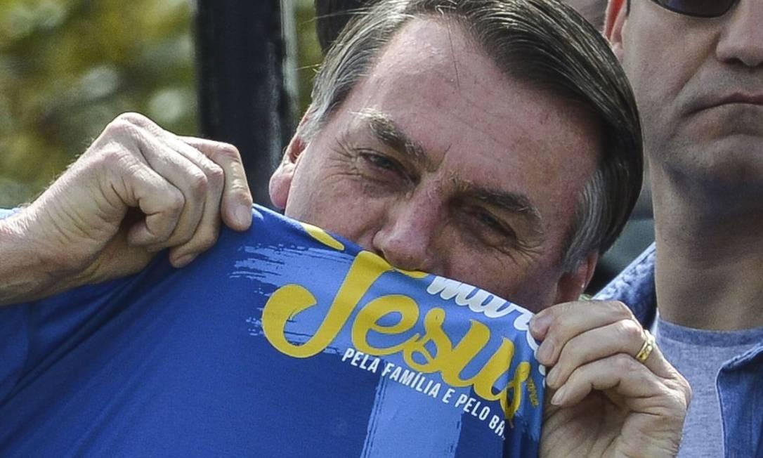 "O presidente Jair Bolsonaro na Marcha Para Jesus e Pela Família de Brasília. O tema deste ano é ""Juntos Marchamos pela Família e pelo Brasil"" Foto: Marcello Casal Jr / Agência Brasil"