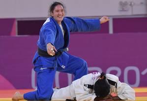 Mayra Aguiar comemora ippon em cubana e sua primeira medalha nos Jogos Pan-Americanos Foto: LUIS ACOSTA / AFP