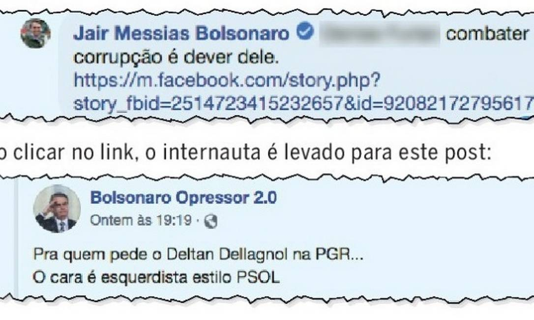 Comentário do presidente Jair Bolsonaro sobre Deltan incluiu endereço de postagem que chama procurador de 'esquerdista' Foto: Reprodução / Redes sociais
