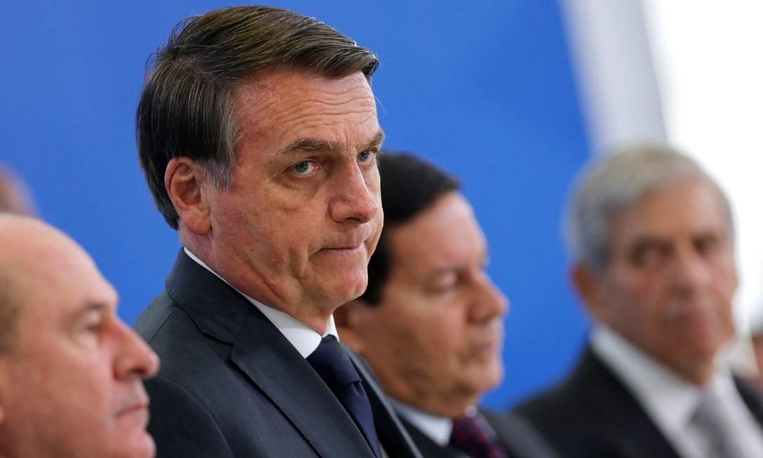 O presidente Jair Bolsonaro, durante cerimônia no Palácio do Planalto Foto: Adriano Machado/Reuters/09-08-2019