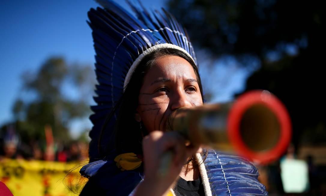 """Ato, segundo a organização, é pela """"defesa do subsistema de atenção à saúde indígena"""" Foto: SERGIO LIMA / AFP"""