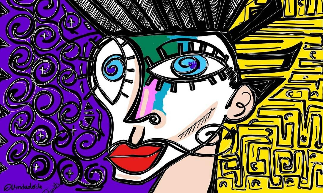 Tela do projeto 'Um dedo de arte', de Diego Moura Foto: Divulgação