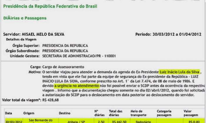 Documentos revelaram que Lula e família viajaram 111 vezes ao sítio desde 2012. Foto: Reprodução