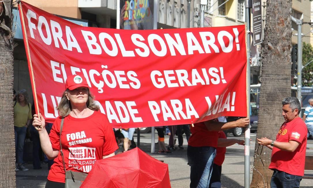 Entidades presentes no ato em Campinas pediram a saída do presidente Bolsonaro e convocação de novas eleições gerais Foto: Luciano Claudino/Código19 / Agência O Globo