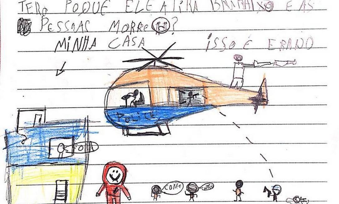 """Criança faz desenho e escreve carta ao TJ dizendo que: """"não gosta do helicóptero porque ele atira para baixo e as pessoas morrem"""" Foto: Reprodução"""