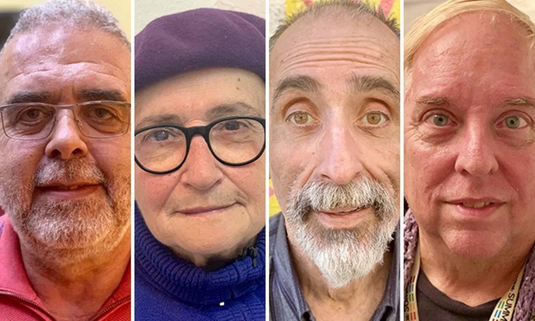 Da esquerda para a direita: o cubano Juan Carlos Aguilar, 65 anos; a espanhola Rosa Araúzo, 74 anos; o uruguaio Eduardo Levaggi Mendoza, 62 anos; o americano David Clayton, 65 anos Foto: Luís Lima / Agência O Globo
