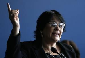 A ministra da Mulher, da Família e dos Direitos Humanos, Damares Alves, que estava em Belo Horizonte hoje para discutir o futuro do Memorial da Anistia Foto: Jorge William / Agência O Globo