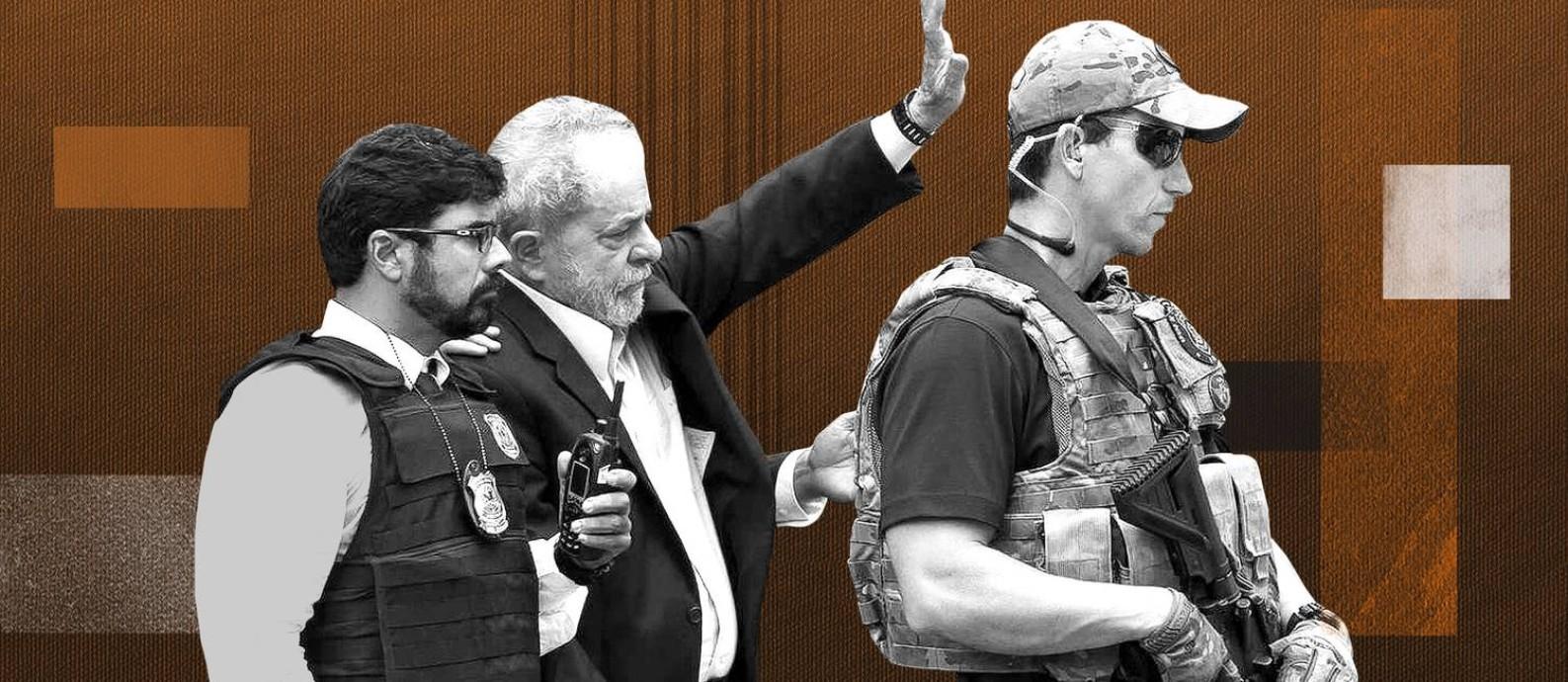 O ex-presidente Lula foi preso no dia 7 de abril de 2018 Foto: Arte/O Globo
