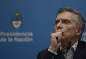 Maurício Macri dá coletiva de imprensa na Casa Rosada após derrota nas eleições prévias de domingo Foto: JUAN MABROMATA / AFP/12-08-2019