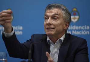 Maurício Macri durante entrevista coletiva na Casa Rosada Foto: JUAN MABROMATA / AFP / 12-08-2019