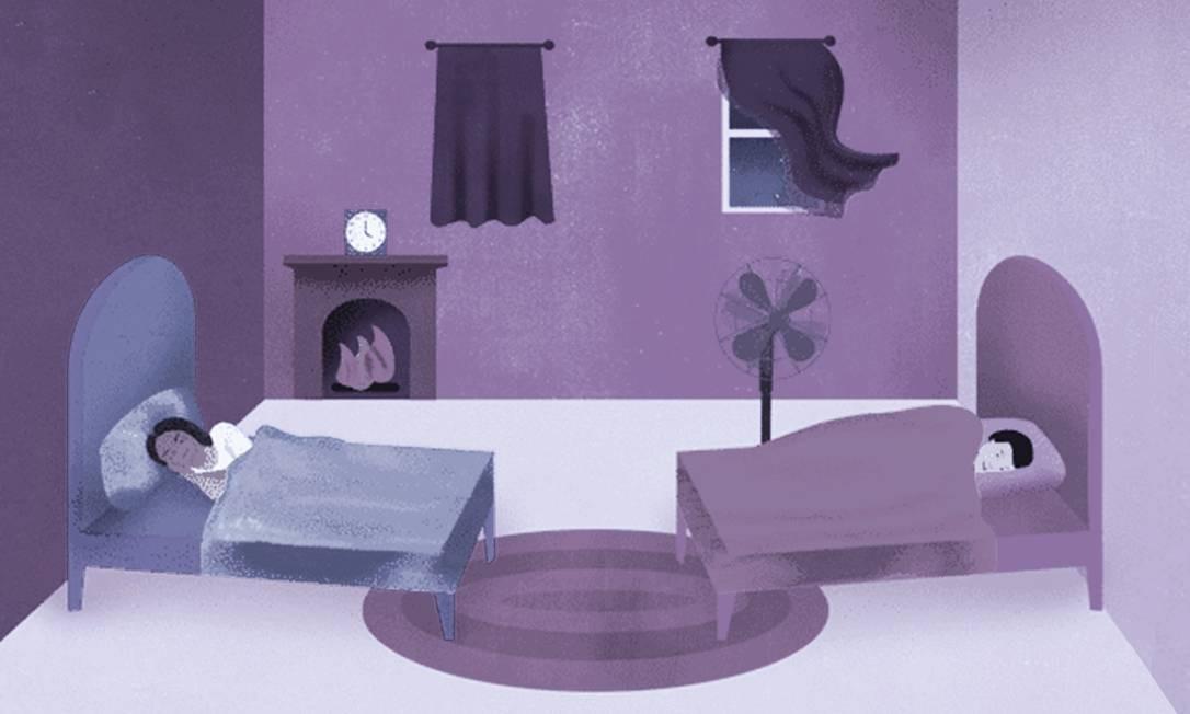 Para muitos casais, dormir em camas separadas é o segredo da longevidade do casamento Foto: Ilustração de Ellen Weinstein/NYT